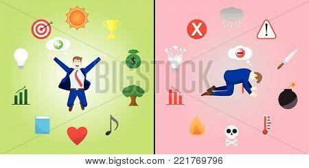 Vector Illustration Happy And Sad Businessman Thinks Positive And Negative Is Encircled By Creativity And Depression Icons Means Optimistic,Pessimistic Attitude Creates Good,Bad Things.
