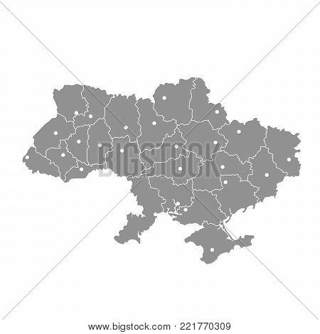Map of Ukraine with Crimea peninsula, Donetsk and Lugansk
