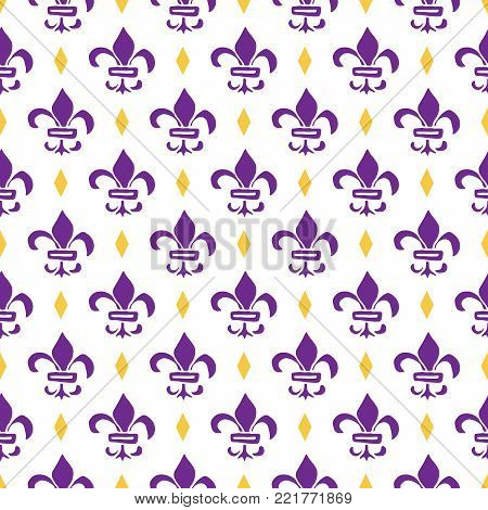 Mardi Gras seamless pattern vector illustration. Hand drawn sketched doodle Holyday elements and royal symbols, Vector illustration.