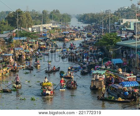 Mekong Delta, Vietnam - Feb 2, 2016. Nga Nam floating market in Mekong Delta, Vietnam. Nga Nam is one of many famous floating markets in the south of Vietnam.