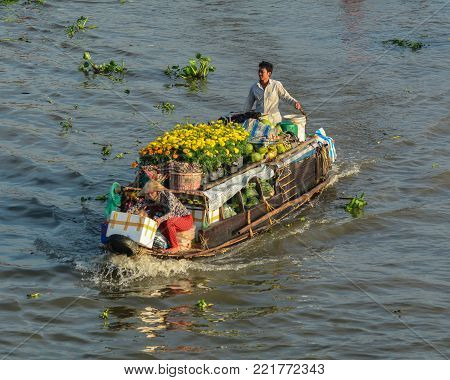 Mekong Delta, Vietnam - Feb 2, 2016. Cargo boat at Nga Nam floating market in Mekong Delta, Vietnam. Nga Nam is one of many famous floating markets in the south of Vietnam.