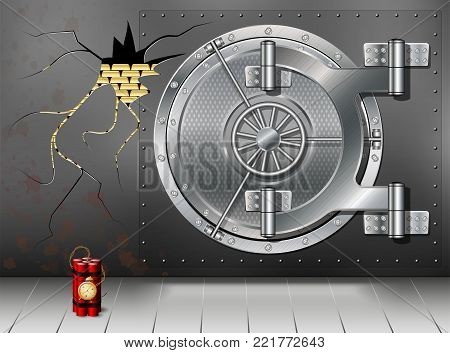 A huge metal round safe door. Reliable saving of secrets and passwords. Blown up or destroyed protection. Copy space.