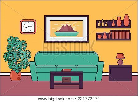 Living room interior. Vector. Linear room in flat design. Home space with sofa, coffee table and houseplant. Cartoon furniture. House equipment. Line art illustration.