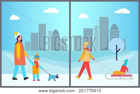 Families activities in city, mother and son walking dog on leash, woman and kid sitting on sledge, trees and buildings with clouds vector illustration