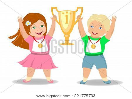 Children winners rejoice together and lift the gold Cup for a sports victory (boy and girl with medals)