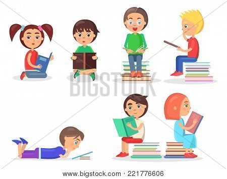 Small girls and boys sitting on floor on heap of literature, lying and holding color textbooks vector illustration isolated on white.