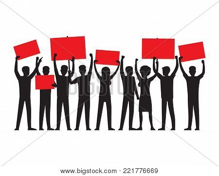 Group of people of both sexes with raised red placards conduct mass rally isolated vector illustration on white background.