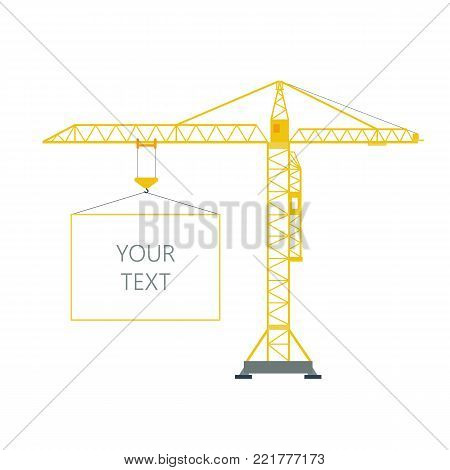 Isolated yellow tower hoisting crane with frame, border with space for text on white background. Lifting crane