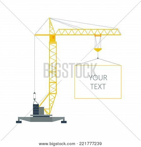 Isolated yellow tower hoisting crane with frame, border with space for text on white background. Lifting crane.
