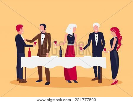 People in the process of drinking red wine and talking about something, standing by white table and holding glasses vector illustration