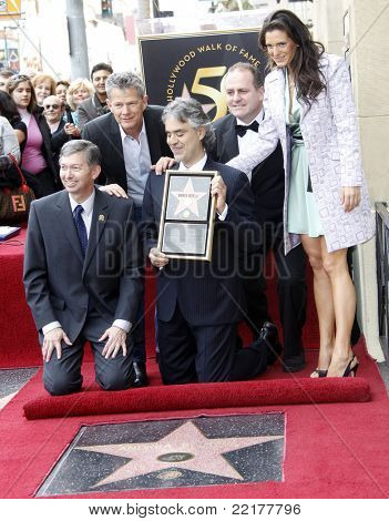 LOS ANGELES, CA - MAR 2: Leron Gubler, Andrea Bocelli, David Foster, Pascal Vicedomini, Veronica Berti at a ceremony for Andrea Bocelli who was honored with a star  in Los Angeles, CA on March 2, 2010