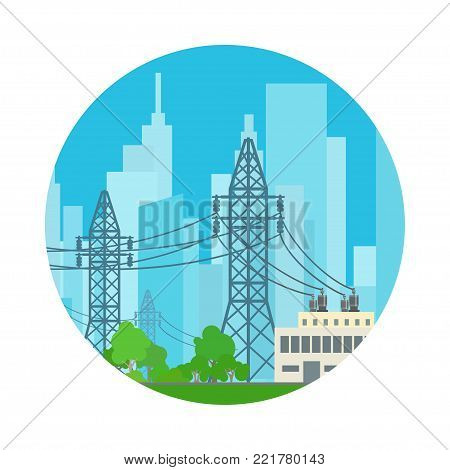 Icon High Voltage Power Lines Supplies Electricity to the City,  Illustration
