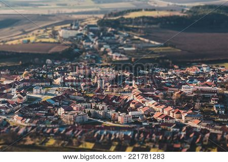 Panorama of a small old European town, tilt shift effect