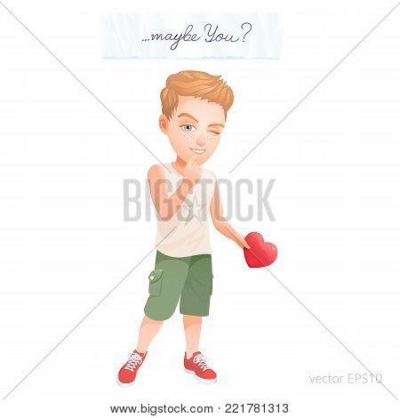 Cartoon teenager dressed in a sleeveless tank top, shorts and red sneakers holds a festive heart. Shy boy looking for somebody to give her the valentine. Above him is a love letter with a text Maybe You?