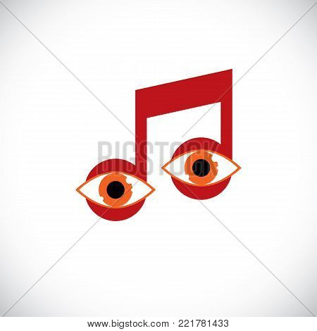 Vector art illustration of musical note created with human eyes inside, conceptual melody symbol. Modernistic graphic design element, have your own musical sight.
