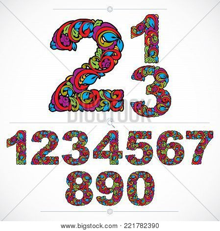 Ecology style flowery numbers, vector numeration made using natural ornament. Colorful digits created with autumn leaves and floral design.