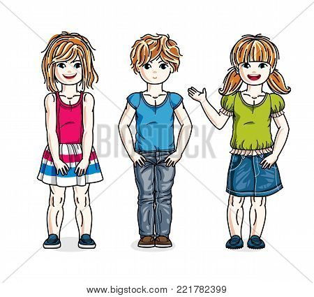 Beautiful little girls group posing wearing fashionable casual clothes. Vector kids illustrations set. Childhood and family lifestyle cartoons.