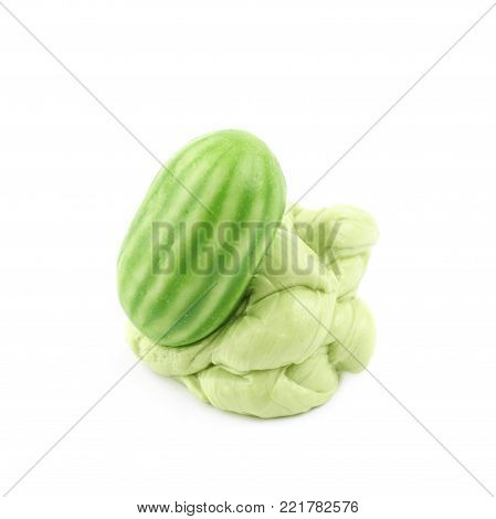 Chewing watermelon gum isolated over the white background