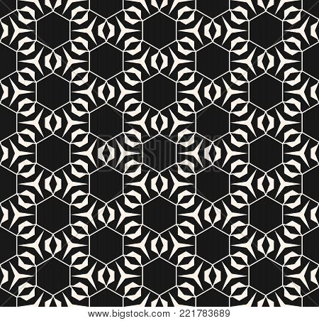 Geometric seamless pattern with triangular shapes, thin lines, hexagonal grid. Geometric linear pattern. Subtle vector geometrical texture. Abstract repeat monochrome background. Stylish dark design for decor, covers, digital, web, wrapping paper