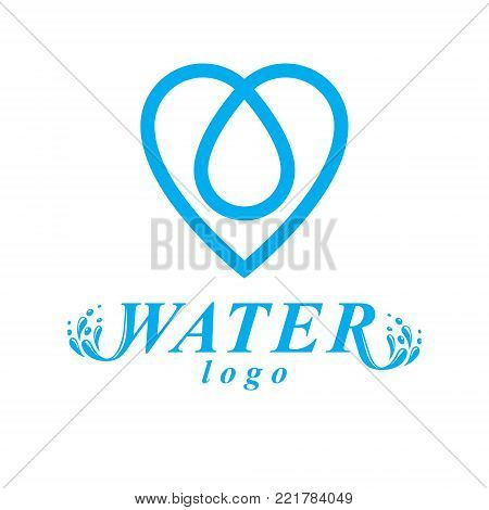 Vector blue clear water drop symbol for use in mineral water advertising. Environment conservation concept.