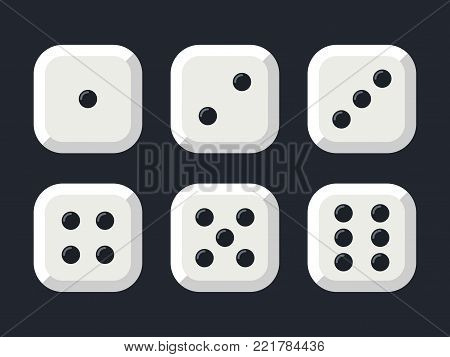 Craps. White dice isolated on black background. Vector illustration