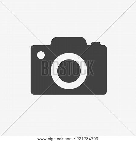 Camera icon isolated on white background. Photocamera symbol. Vector stock.