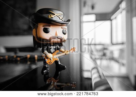 illustrative editorial of Funko Pop action figure of Lemmy Kilmister the bassist and frontman of the Motorhead heavy metal band Bologna, Italy, 13 Jan 2018