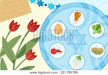 Passover poster, invitation, flyer, greeting card. Pesach template for your design with festive Seder table, kosher food, matzah, david star. Jewish holiday background. Vector illustration