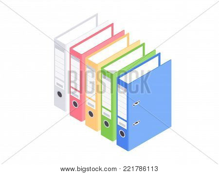 Isometric office ring binders isolated on white. Vector illustration