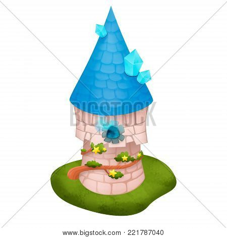Cute Wizard Tower on a white background