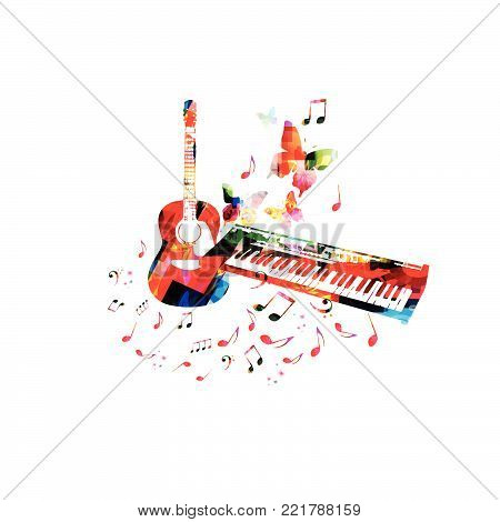 Music poster with colorful piano keyboard, guitar and music notes isolated vector illustration design