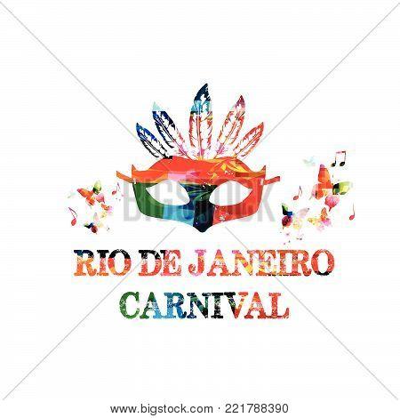 Colorful Rio De Janeiro carnival inscription. Brazil carnival vector illustration design