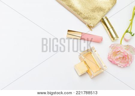 Beauty make up on white background. Copy space