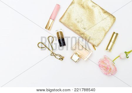 Cosmetics and accessories pink&gold on a white background. Feminine mockup