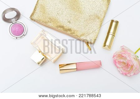 Beauty and make styled stock photo. Flat lay
