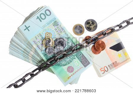Stack money for security and investment. Polish and euro currency paper banknotes in chain. Isolated on white