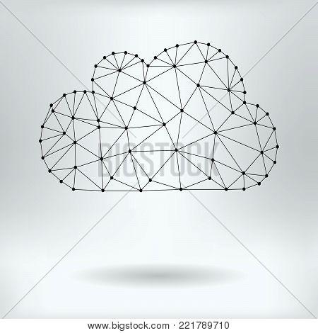 Vector Net Symbol of Cloud - Reticulated Design