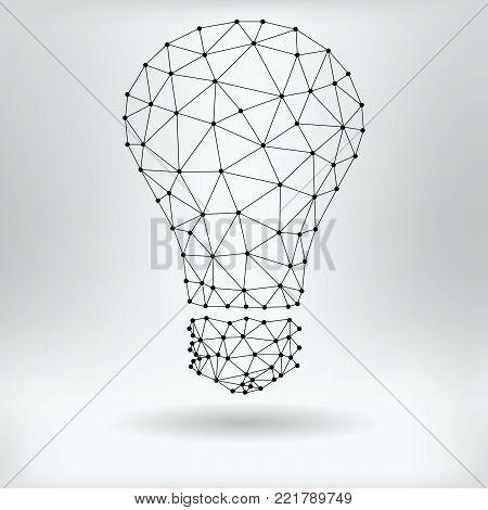 Vector Net Symbol of Lightbulb - Reticulated Design