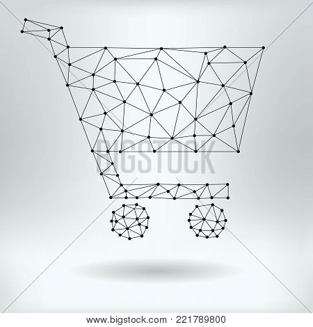 Vector Net Symbol of Shopping Cart - Reticulated Design