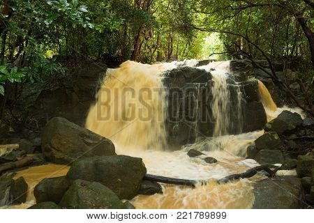 Affluent Waterfall in rain season on island Koh Samui, Thailand, Asia