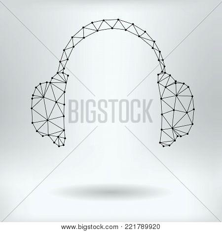 Vector Net Symbol of Headphones - Reticulated Design