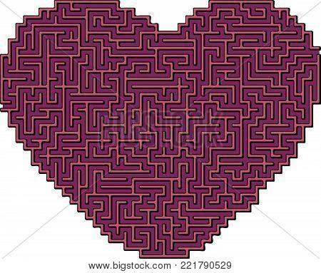 Vector Heart Maze for Children - Labyrinth Illustration