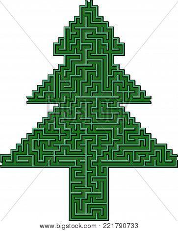 Vector Spruce Maze for Children- Labyrinth Illustration