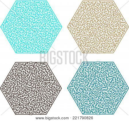 Difficult Vector Hexagonal  Blue and Brown Mazes for Children
