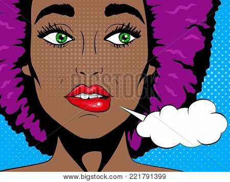 Wow pop art face. Confused african woman with open mouth and speech bubble. Pop art retro comic style.