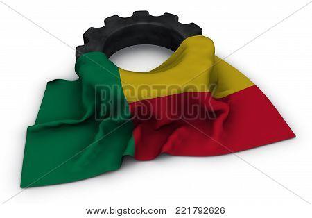 gear wheel and flag of benin - 3d rendering