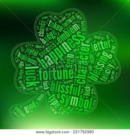 Green  Saint Patrick Day Quatrefoil Leaf Clover  Tag Cloud   - Vector Illustration