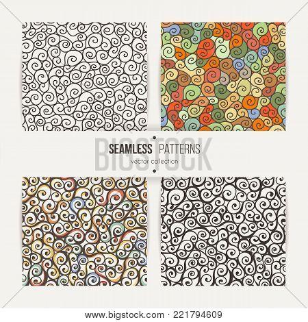Seamless swirl patterns set. Handdrawn doodle ringlets.