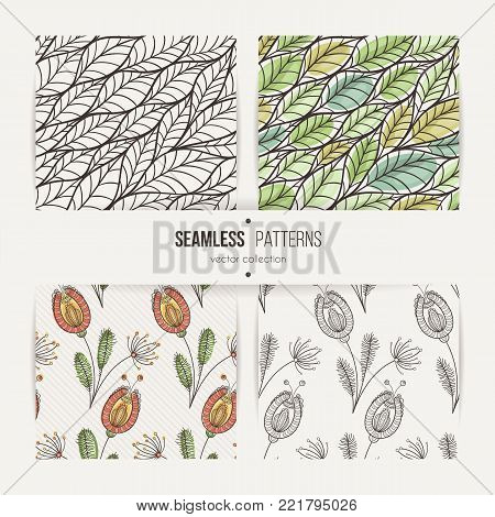 Set of seamless doodle floral and leaves patterns. Stylized flowers and twigs