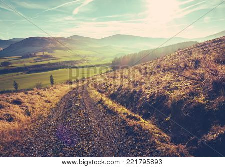 Country Track Or Trail In The Scotltish Borders On A Summer's Day At Dusk